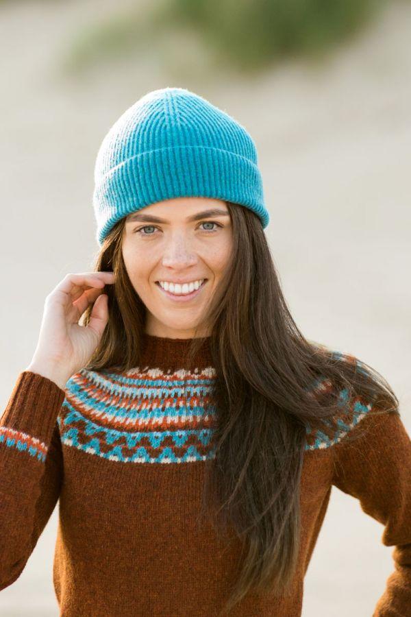 Womens rust fair isle jumper sweater yoke lido