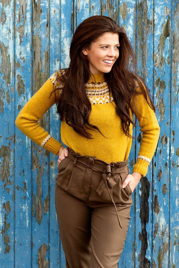Womens yellow mustard fair isle yoke jumper sweater lido