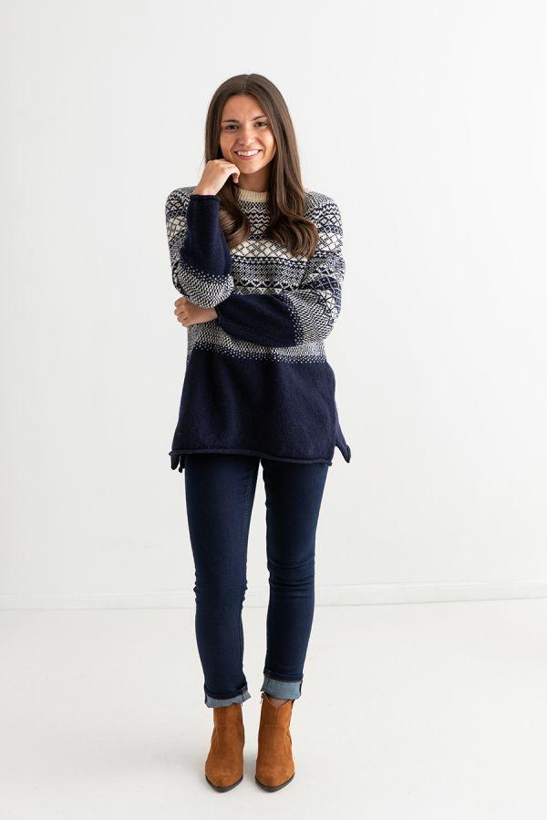 womens fair isle navy blue jumper tunic sweater wool lace full