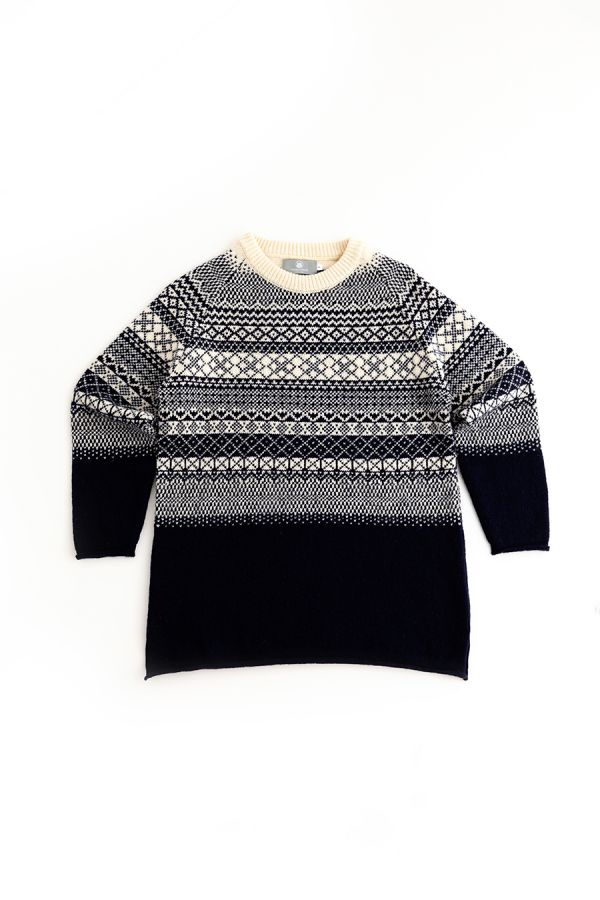 womens fair isle tunic jumper sweater navy blue wool