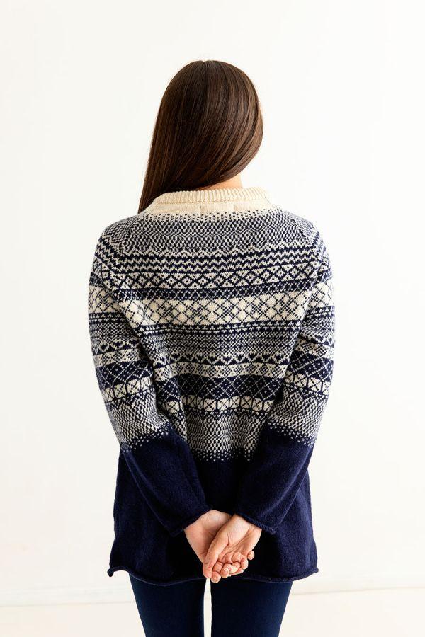 womens navy blue fair isle wool sweater jumper tunic lace back