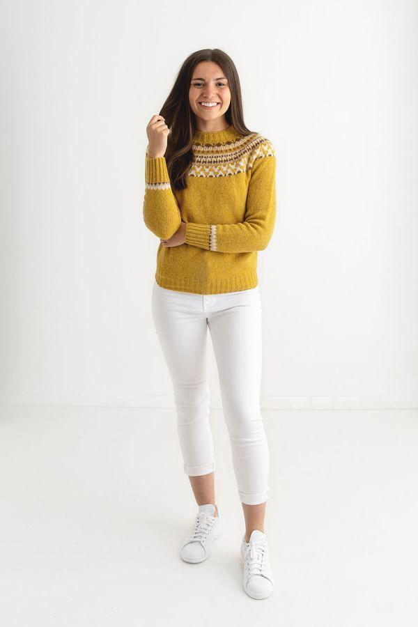 womens fairisle yellow mustard jumper sweater lido yoke full