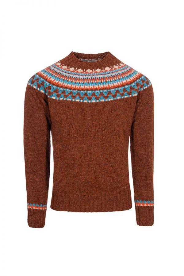 Womens fair isle jumper lido yoke. rust brown front