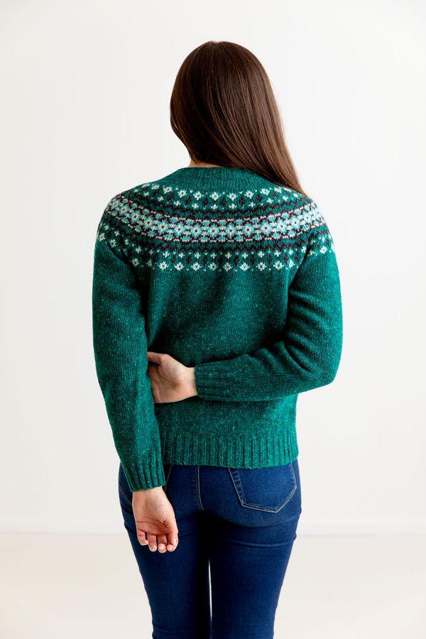 womens green croft yoke fair isle jumper sweater jade