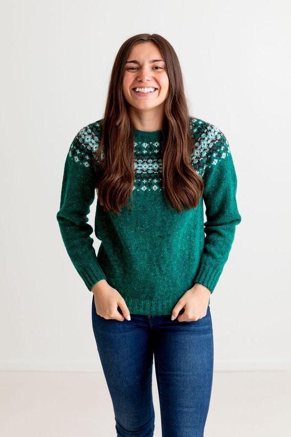 womens green fair isle jumper sweater donegal wool jade croft yoke