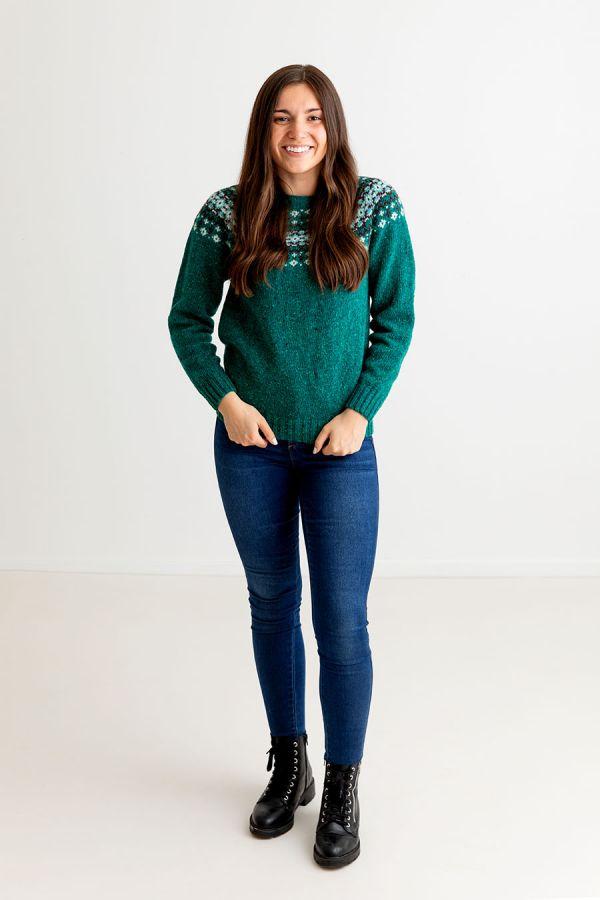 womens green fairisle jumper sweater jade croft yoke donegal wool
