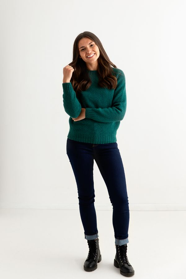 womens green shetland jumper sweater emerald wool full
