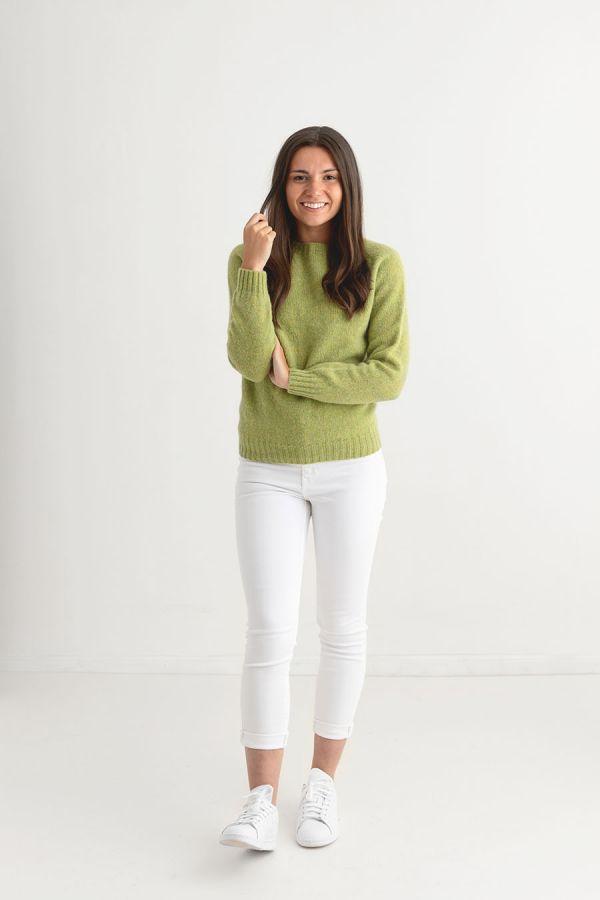 womens lime green shetland wool jumper sweater full