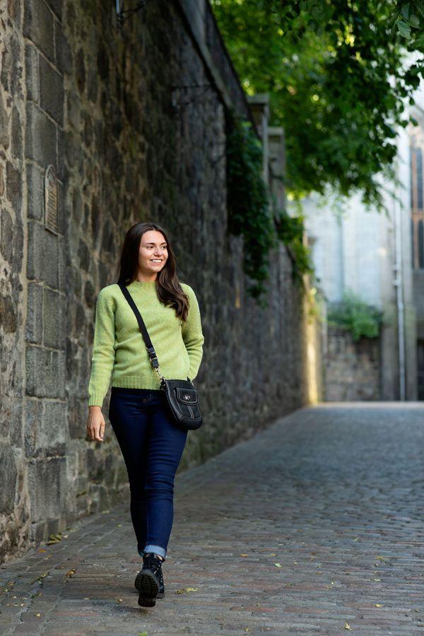womens lime green wool jumper sweater shetland saddle shoulder ls