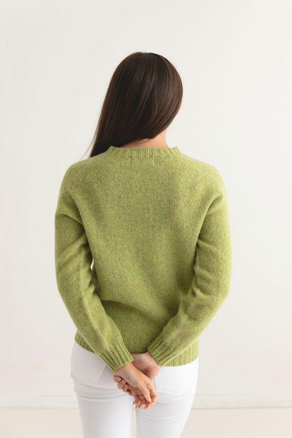 womens lime shetland wool jumper sweater saddle shoulder green back