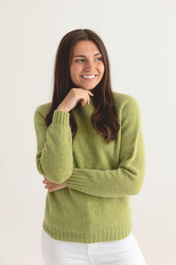 womens lime shetland wool jumper sweater saddle shoulder green front