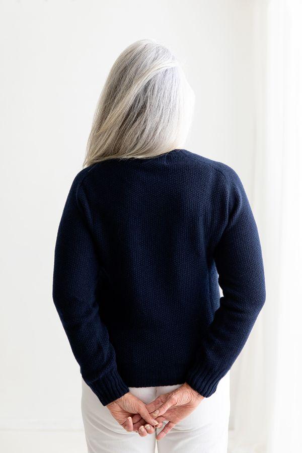 womens navy moss stitch jumper sweater back