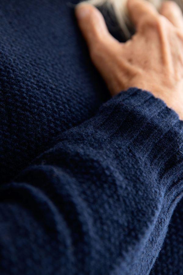 womens navy blue moss stitch jumper sweater lambs wool geelong