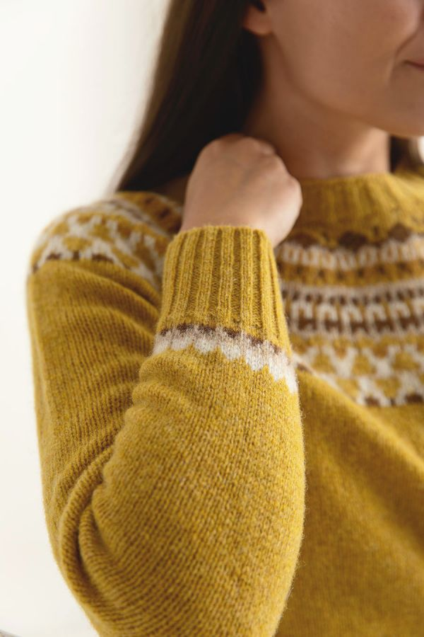 womens yellow fair isle jumper sweater mustard wool lido close up
