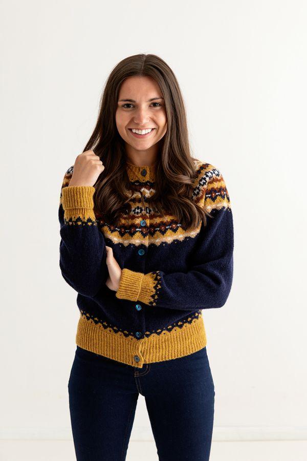 womens navy blue fair isle cardigan wool crathie front
