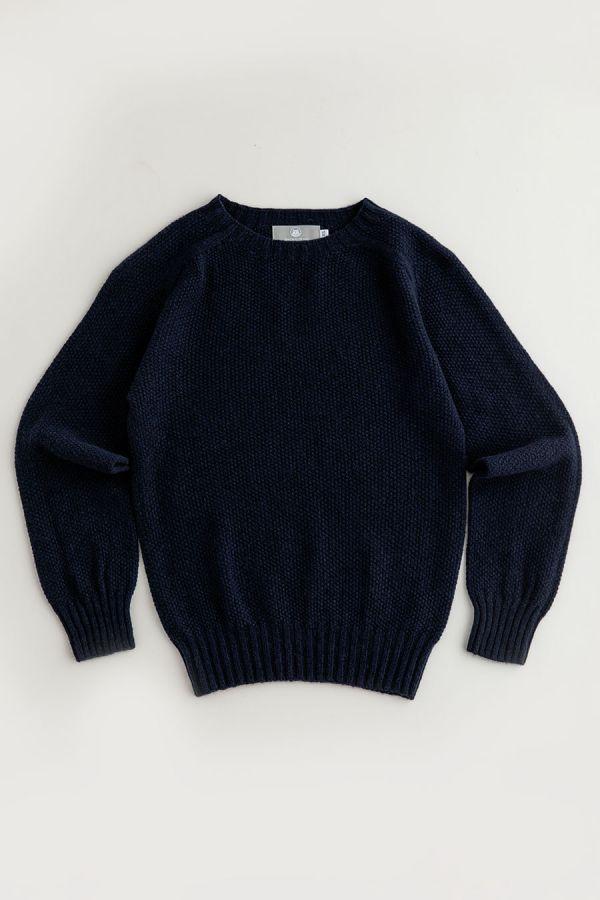 womens navy blue moss stitch jumper sweater lambs wool