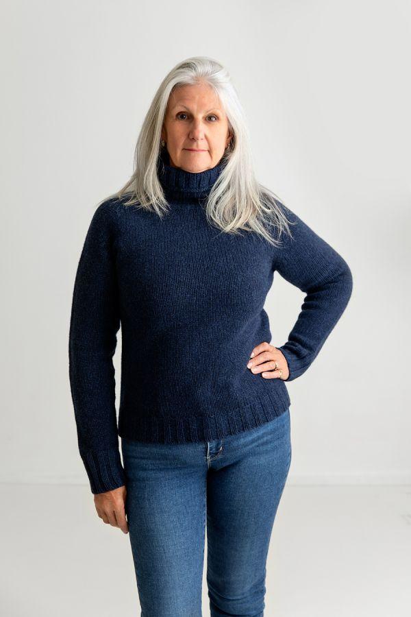 womens navy blue polo neck jumper sweater lambs wool geelong