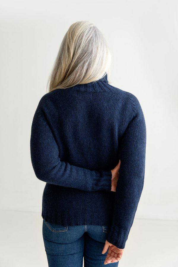 womens navy blue polo neck jumper sweater back
