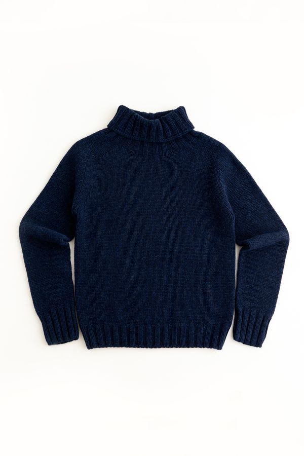 womens navy blue polo neck jumper sweater chunky lambs wool