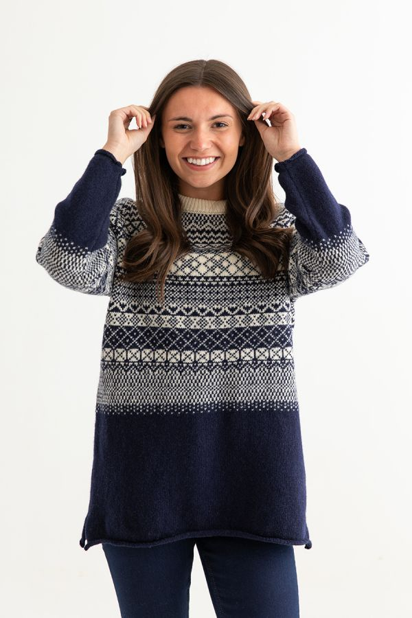 womens navy blue wool fair isle jumper sweater tunic ladies lace front