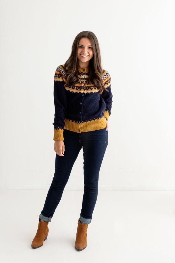 womens navy blue fair isle cardigan wool crathie full