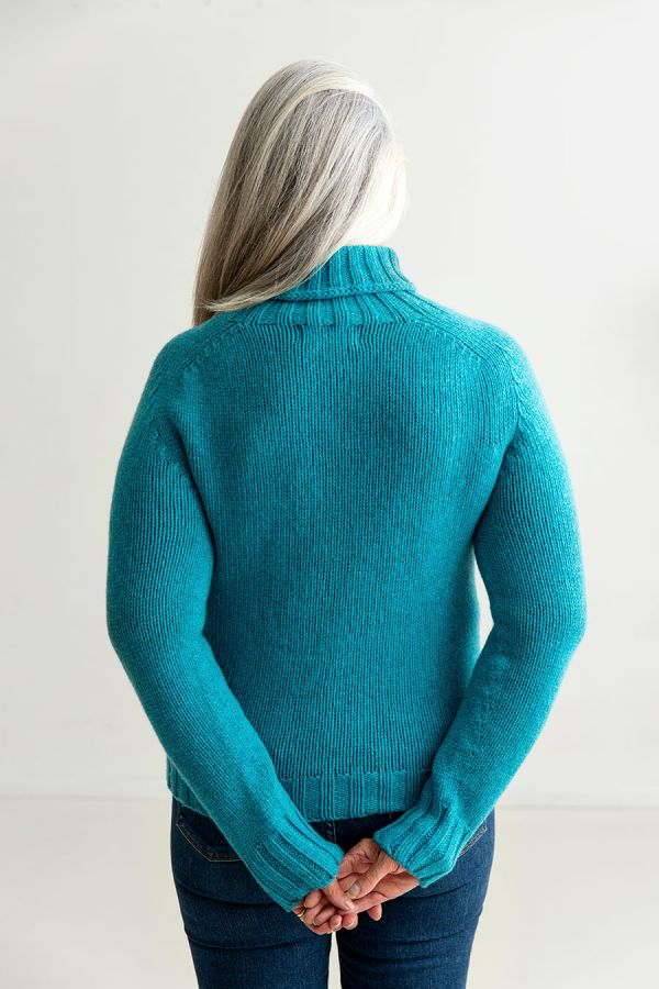 womens chunky wool polo neck jumper sweater turquoise geelong lambswool