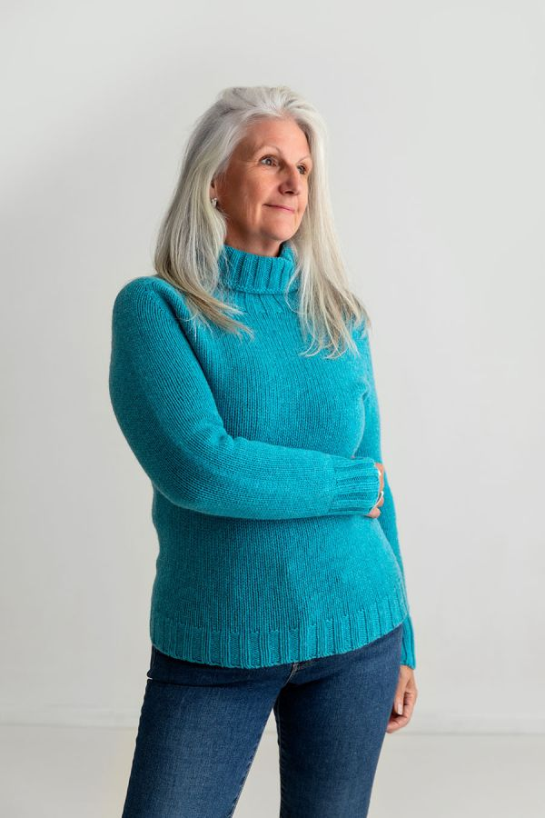 Womens Chunky Turquoise Polo Neck Jumper Geelong Lambs wool