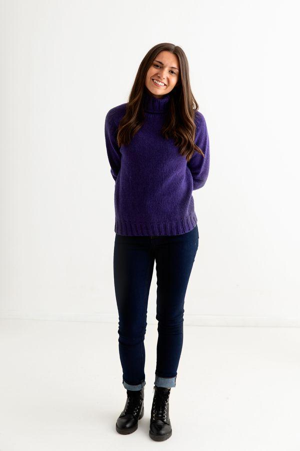 women purple polo neck jumper sweater chunky geelong lambs wool full