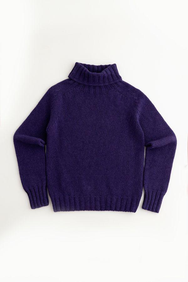 womens purple polo neck jumper sweater chunky lambs wool