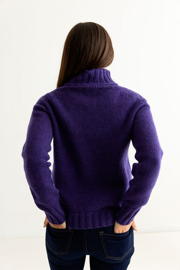 womens purple polo neck jumper sweater lambswool back
