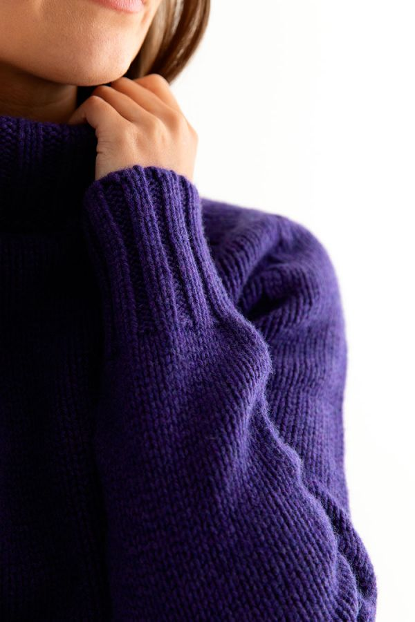 womens purple polo neck jumper sweater geelong lambs wool close up