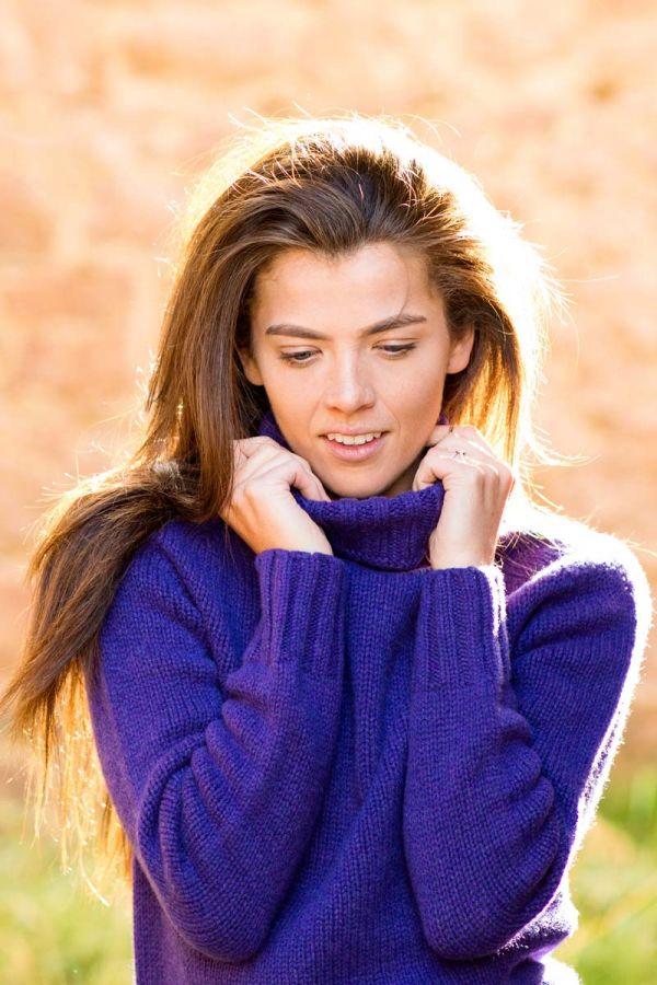 Womens purple polo neck super fine lambs wool jumper