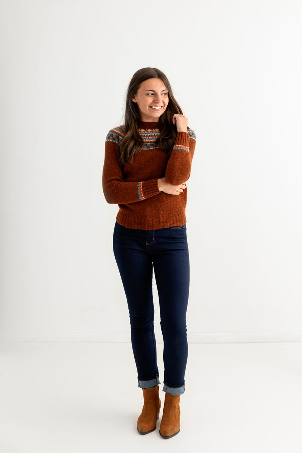 womens rust fair isle jumper sweater wool lido full