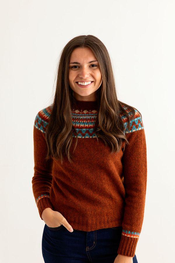 womens rust wool fair isle jumper sweater lido yoke front