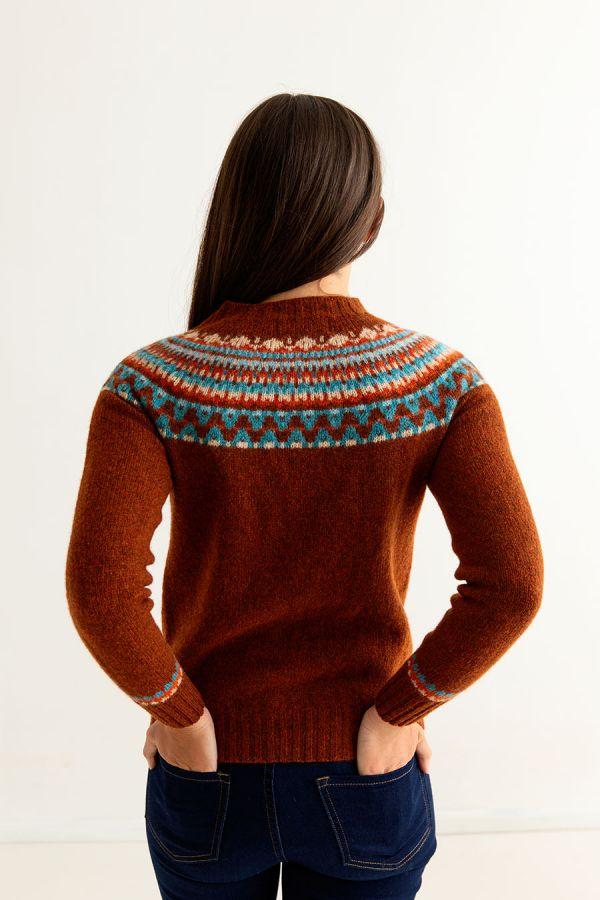 womens rust wool fair isle jumper sweater lido yoke back