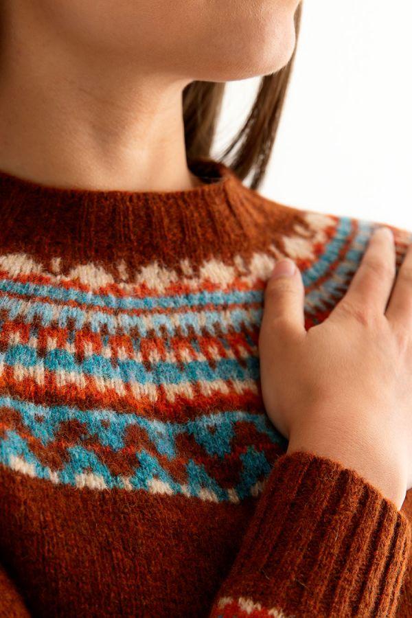 womens rust fairisle jumper sweater wool fair isle lido yoke close up