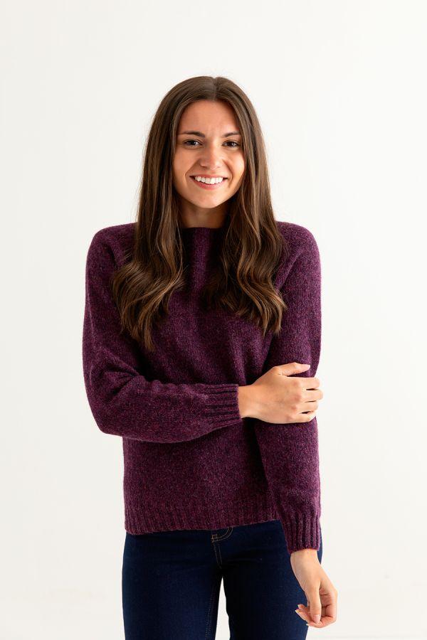 womens shetland wool jumper sweater aubergine plum wine eggplant front