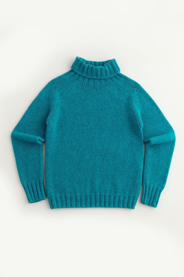 womens turquoise polo neck jumper sweater chunky lambs wool