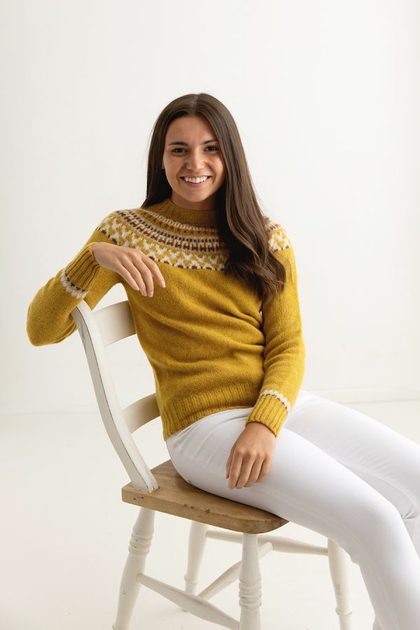 womens yellow fair isle sweater jumper mustard wool lido front