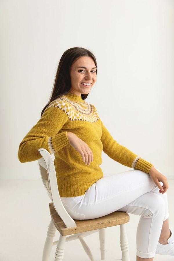 ladies fairisle jumper sweater mustard yellow wool lido side