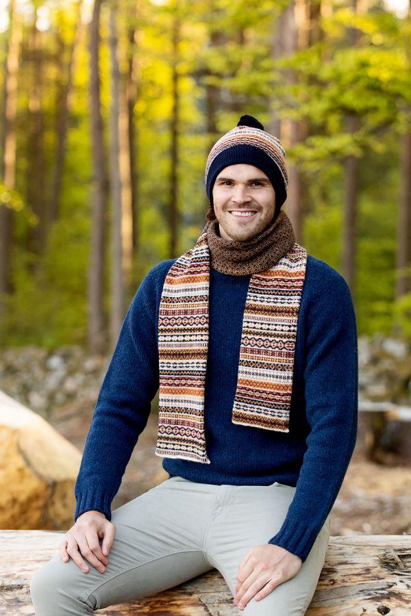 wool fair isle scarf navy blue yellow mustard mens mans scottish