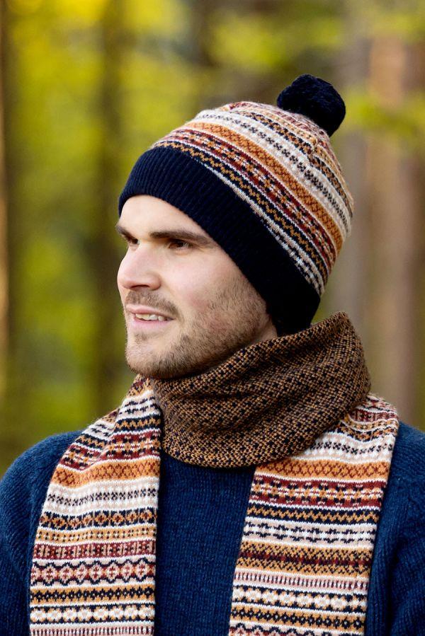 wool fair isle hat ski bobble pom navy gold mustard tweed
