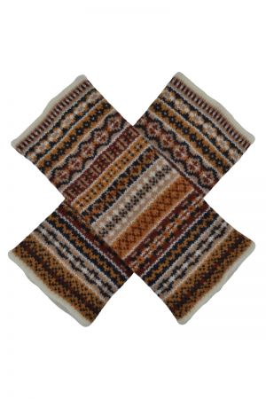 Tweed Fair isle wrist warmer fingerless gloves - Gold