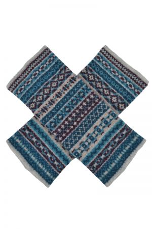 Tweed Fair isle wrist warmer fingerless gloves - Teal