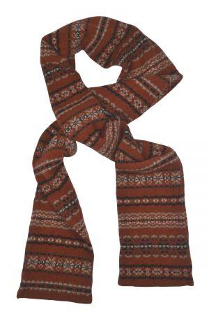 Scalloway Fair isle scarf - Rust