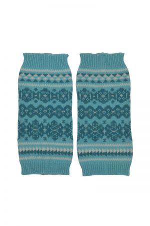 Stockbridge Fair isle Wrist Warmer Fingerless Gloves - Aqua