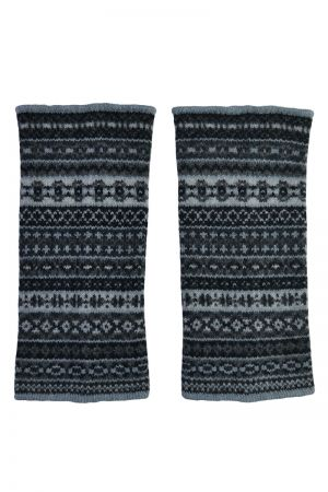Tweed Fair isle wrist warmer fingerless gloves - Charcoal Grey