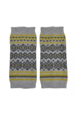 Stockbridge Fair isle Wrist Warmer Fingerless Gloves - Grey