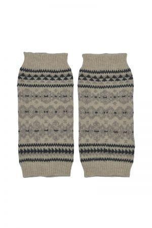 Stockbridge Fair isle Wrist Warmer Fingerless Gloves - Linen
