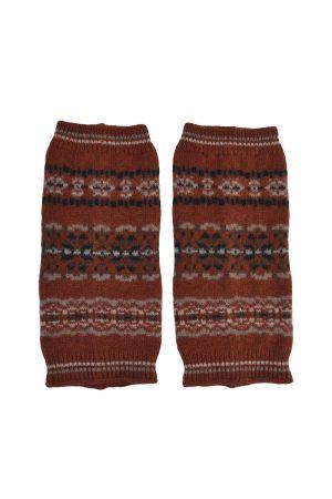 Scalloway Fair isle wrist warmer fingerless gloves - Rust
